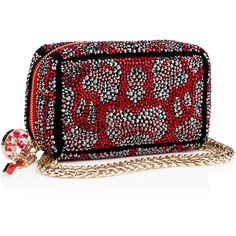 Piloutin Clutch  Red Strass - Handbags - Christian Louboutin ($3,495) ❤ liked on Polyvore featuring bags, handbags, clutches, red purse, mini pochette, red handbags, man bag and mini hand bags