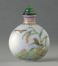 Snuff Bottle and Stopper  Mother and Baby Birds on Flowering Cherry Branch and Maize Stalk    Made in China, Asia  Qing Dynasty (1644-1911), Qianlong Period (1736-1795)    Artist/maker unknown, Chinese    Opaque white glass with enamel decoration; jade stopper with ivory spoon  2 5/16 x 1 5/8 inches (5.9 x 4.2 cm)    * Gallery 236, Asian Art, second floor, right-hand case    1944-20-558    Gift of Major General and Mrs. William Crozier, 1944