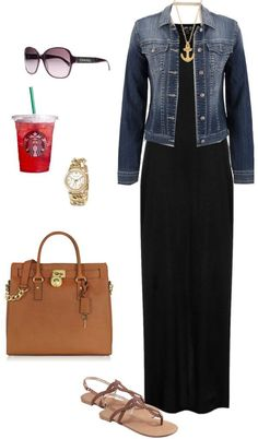 "A look almost any woman can pull off. Black maxi and denim jacket. ""Black Maxi"" by shortemmi on Polyvore"