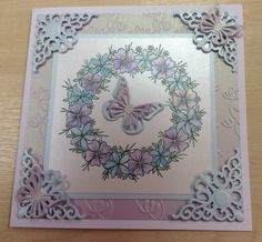 Made by Melanie from MJ crafts using a Chloe stamp and butterfly die, spellbinders corner die and coloured using cosmic shimmer paints Chloes Creative Cards, Stamps By Chloe, Flower Circle, Butterfly Cards, Paper Crafts, Diy Crafts, Cardmaking, Birthday Cards, Birthdays