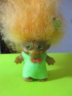 3 Inch Uneeda Double Horseshoe Troll Doll with Orange Mohair, Green Eyes, Handmade Green Felt Outfit by TROLLSandTREASURES on Etsy