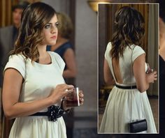 Aria's white backless dress and flower belt on Pretty Little Liars.  Outfit Details: http://wornontv.net/4459/ #PLL