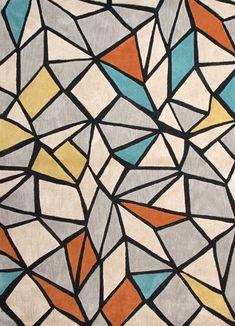 Geometric rug. Tapete geométrico. Muy interesante sobre el tapete de vinil y fusionarlo sobre la pared. No olvidar incluir el color principal: índigo.