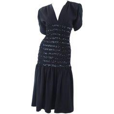 440224e6406 1983 Vintage Yves Saint Laurent Black Black Smocked and Sequined Cocktail  Dress 1 Evening Dresses,