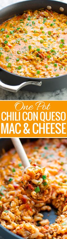 One Pot Chili Con Queso Mac and Cheese - loaded with seasoned ground beef, melty, gooey cheese, the whole family is going to love this! One Pot and just 30 Minutes.