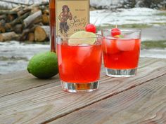Sailor's Sweetheart  Ingredients:  4 shots of Sailor Jerry Rum  2 shots of grenadine  Juice from one lime  Maraschino cherries and lime wedges for garnish  Mix ingredients in a cocktail shaker, shake well, and pour over ice into glasses. Garnish and enjoy!  http://www.tattooedmartha.com/2013/02/08/sailors-sweetheart/#