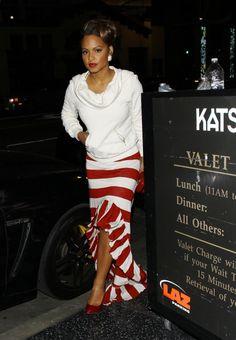 Christina Milian Katsuya Striped Asymmetrical Hem skirt