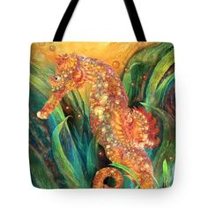 Seahorse - Spirit Of Contentment  Art Tote Bag by Carol Cavalaris