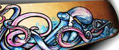 Pinky Blue 2 Octopus Skateboard Painting