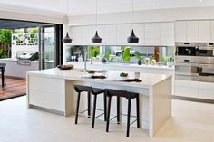 Love this via Mcdonald jones homes. I love the clean lines of the kitchen. Love this via Mcdonald jones homes. I love the clean lines of the kitchen. Open Plan Kitchen, Kitchen Sets, Living Room Kitchen, New Kitchen, Kitchen With Island Bench, Kitchen Island Bench Designs, Kitchen Layouts, Island Design, Kitchen White