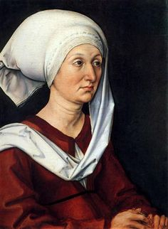 """Portrait of Barbara Durer"" (c.1490), by German artist - Albrecht Durer (1471-1528), Oil on oak panel, 47 x 36 cm., Germanisches Nationalmuseum, Nuremberg, Germany."
