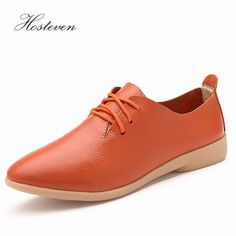98b0991284f Brand 2017 New Genuine Leather Oxford Shoes For Women Round Toe Lace-Up Casual  Shoes Spring And Autumn Flat Loafers Shoes
