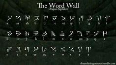totally recreating this Skyrim dragon language alphabet on a poster Alphabet Code, Alphabet Symbols, Ancient Alphabets, Ancient Symbols, Skyrim Tattoo, Fictional Languages, Different Alphabets, The Elder Scrolls, Magic Symbols