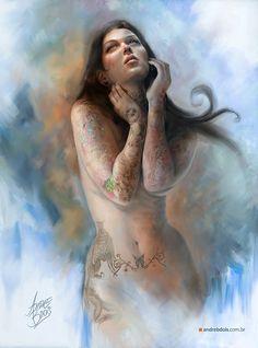 Tattooed Woman by andrebdois.deviantart.com