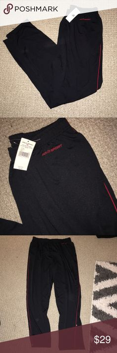 """Polo sport pants - NEW! Cute, sporty work out pants. BRAND NEW WITH TAGS NEVER WORN. Red piping on sides, zipper ankles. 32"""" inch inseam. Elastic waist. 90% polyester, 10% spandex. Ralph Lauren Pants Track Pants & Joggers"""