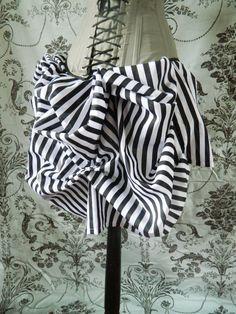AS IS Tabitha Black White Stripe Mini Bustle Skirt-One Size, Fits 20-36 Inch Waist on Etsy, $55.00