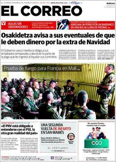 Los Titulares y Portadas de Noticias Destacadas Españolas del 14 de Enero de 2013 del Diario El Correo ¿Que le parecio esta Portada de este Diario Español?