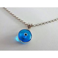 Evil eye necklace-Silver evil eye pendant-Silver chain-Sterling... ($15) ❤ liked on Polyvore featuring jewelry, sterling silver pendants, silver jewelry, chain pendants, chains jewelry and pendant jewelry