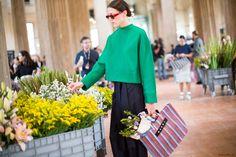 Green top, red sunglasses, Marni bag, Marni Flower Market, Milan Fashion Week