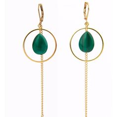 SALOME - Le Rêve Collection Malachite Earrings with Fringe ($69) ❤ liked on Polyvore featuring jewelry, earrings, fringe earrings, earring jewelry, fringe jewelry and earrings jewellery