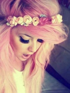 Love the headband and colored hair.