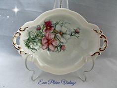 Hand Painted Pink White Dianthus Flowers Oval by EauPleineVintage