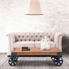 """- Description - Details The Barbary Coast coffee table is inspired by an early 1900s industrial original once used to transport furniture, fabric and supplies across the factory floor. Size: 43.3""""w x"""
