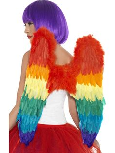 Deluxe Rainbow Feather Wings Costume Accessory FNT for sale online Bird Wings Costume, Lgbt, Parrot Feather, Rainbow Fairies, Large Feathers, Axl Rose, Sexy Halloween Costumes, Rainbow Pride, Gay Pride