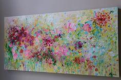 flores pintura abstracta pintura sobre lienzo arte por artbyoak1