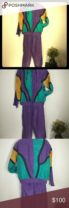 90s Silk Color Block TrackSuit Purple Teal Mustard Made by GLC, this purple teal and mustard color block silk tracksuit is straight out of the 90s. Size medium with good elastic in the waist. GLC Other