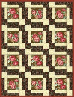 Amelia Rose Flower 12 Pre-Cut Quilt Kit Blocks