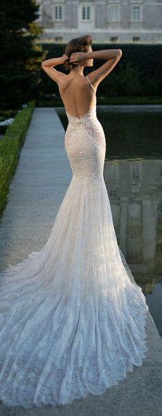 satin fit-and-flare wedding dress,sexy deep V neck and flirty peek-a-boo back wedding dress