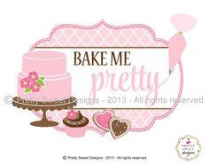 Artículos similares a Negocio personalizado diseño de logotipo, Logo de la panadería para un pequeño negocio con ilustración personalizada y un diseño de rosa pastel en Etsy