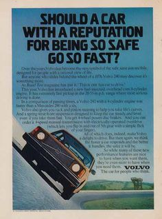 Volvo 240 - 1976 Car Ad - Car with a reputation, Automobile - Imports & Other Car Ads Volvo Ad, Driving Miss Daisy, Car Brochure, Ad Car, Car Magazine, Classic Motors, Car Advertising, Retro Cars, Car Humor