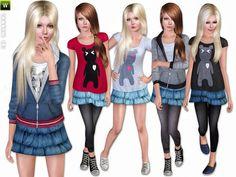 Sporty denim set by lillka - Sims 3 Downloads CC Caboodle