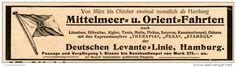 Original-Werbung/Inserat/ Anzeige 1902 - DEUTSCHE LEVANTE-LINIE HAMBURG ca. 180 x 50 mm
