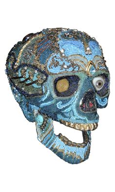 Home Décor Skull with Seed Beads, Metal Chain and Vintage Jewelry Components - Fire Mountain Gems and Beads