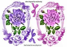 Lovely pink and lilac roses in ornate frames on Craftsuprint - Add To Basket!