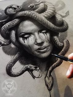 In Greek mythology, Medusa was a monster, a Gorgon, generally described as a winged human female with living venomous snakes in place of hair. Tattoo Sketches, Tattoo Drawings, Body Art Tattoos, Sleeve Tattoos, Art Drawings, Tatoos, Medusa Tattoo Design, Tattoo Designs, Medusa Drawing