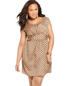 Soprano Plus Size Dress, Sleeveless Printed Banded Waist - $68