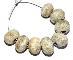 Crusty Ceramic Bead Set Stone Lichen Organic Handmade by Grubbi
