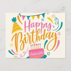 Happy Birthday Lettering Postcard Size: ' ' Postcard. Gender: unisex. Age Group: adult. Material: Matte. Happy Birthday Logo, Happy Birthday Typography, Birthday Wishes For Daughter, Happy Birthday Wishes Cards, Happy Birthday Parties, Beautiful Birthday Messages, Postcard Wedding Invitation, Birthday Letters, Birthday Postcards