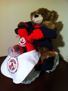 Diaper Tricycle/Boston Red Sox by KeepsakeCakes on Etsy, $125.00