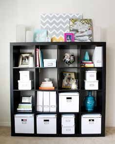 Storage is key for living in a small space. Create the storage you need with these shelves boxes.
