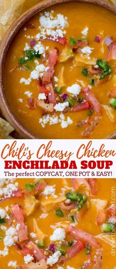 The best copycat Chili& Chicken Enchilada Soup. The best copycat Chili& Chicken Enchilada Soup. Enchilada Pasta, Chilis Enchilada Soup, Chili's Chicken Enchilada Soup, Spicy Chicken Soup, Cheesy Chicken, Mexican Food Recipes, Soup Recipes, Chicken Recipes, Cooking Recipes