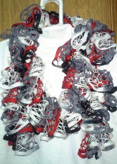 GO BLACKHAWKS.......Beautiful Multi Color Ruffle Scarf Collegiate by crazyforcolors2, $16.00