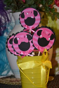 Minnie Mouse Black and Pink Themed CupCake Toppers (Set of 12)