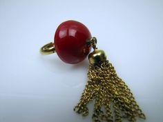 Bright Cherry Red Bakelite Chunky Dome Tassel Ring. Round Half Sphere Multi Chain Tassel. Adjustable. Vintage Bakelite Statement Ring. by MercyMadge on Etsy