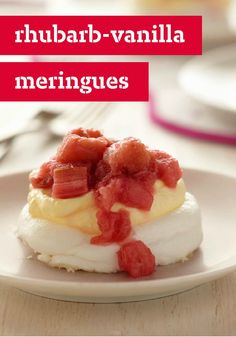 Rhubarb-Vanilla Meringues - These yummy morsels of rhubarb-vanilla flavored meringues, made with sugar-free JELL-O Pudding and COOL WHIP LITE, are just about as scrumptious as could be!