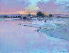 Michael Norman: Dusk at Turf Locks: One of the top ten most popular works from the Pastel Society Annual Exhibition based on the Online Exhibition. Pastel Landscape, Contemporary Landscape, Abstract Landscape, Seascape Paintings, Landscape Paintings, Pastel Paintings, Oil Paintings, Zen, Painting Snow